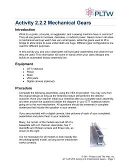 2.2.2 Mechanical Gears Worksheet